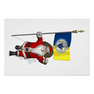 Papá Noel con la bandera de Trenton NJ Perfect Poster