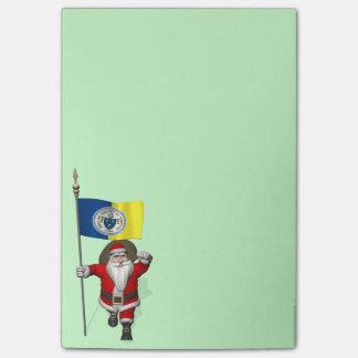 Papá Noel con la bandera de Trenton NJ Post-it® Nota