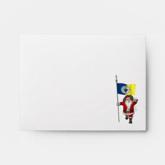 Papá Noel con la bandera de Trenton NJ Sobre