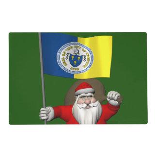 Papá Noel con la bandera de Trenton NJ Tapete Individual