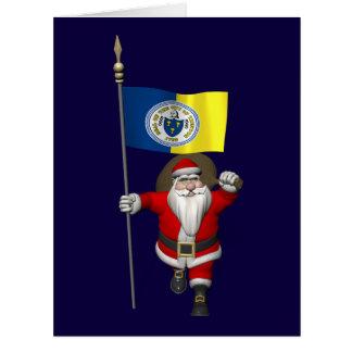 Papá Noel con la bandera de Trenton NJ Tarjetas