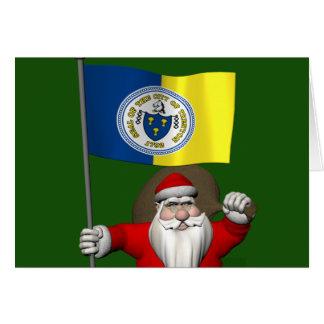 Papá Noel con la bandera de Trenton NJ Tarjeta De Felicitación