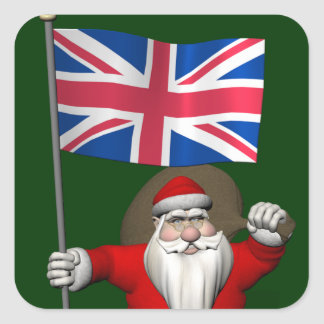 Papá Noel con la bandera de unión del Reino Unido Calcomania Cuadradas