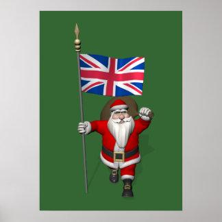 Papá Noel con la bandera de unión del Reino Unido Póster