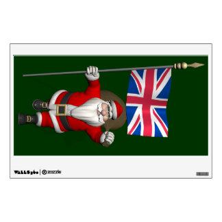 Papá Noel con la bandera de unión del Reino Unido Vinilo Adhesivo