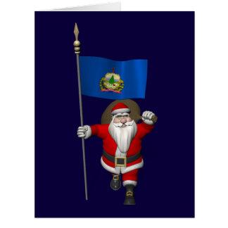 Papá Noel con la bandera de Vermont Tarjetas