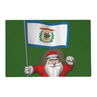 Papá Noel con la bandera de Virginia Occidental Salvamanteles