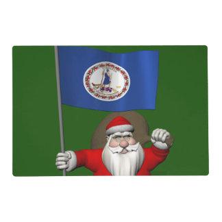 Papá Noel con la bandera de Virginia Salvamanteles