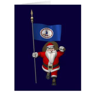 Papá Noel con la bandera de Virginia Tarjeta De Felicitación Grande