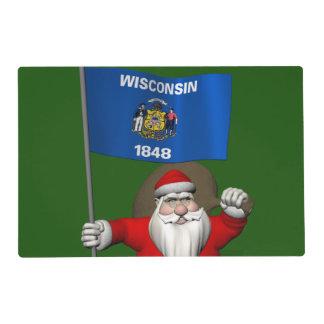 Papá Noel con la bandera de Wisconsin Tapete Individual