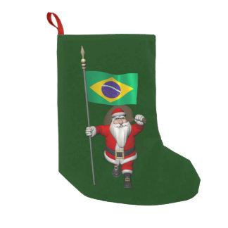 Papá Noel con la bandera del Brasil Bota Navideña Pequeña