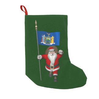 Papá Noel con la bandera del estado de Nueva York