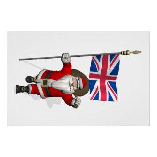 Papá Noel con la bandera del Reino Unido Perfect Poster