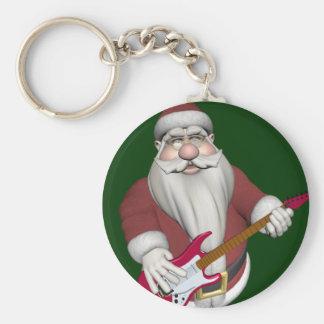 Papá Noel con la guitarra eléctrica roja Llavero Redondo Tipo Pin