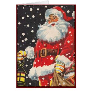Papá Noel con la linterna del navidad - imagen del Tarjeta Pequeña