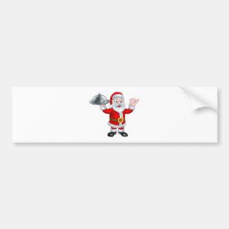 Papá Noel con la placa de la comida del navidad Pegatina Para Auto