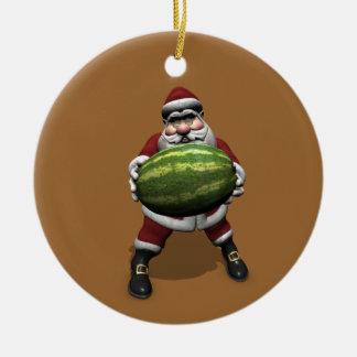 Papá Noel con la sandía enorme Adorno Navideño Redondo De Cerámica