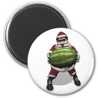 Papá Noel con la sandía enorme Imán Redondo 5 Cm