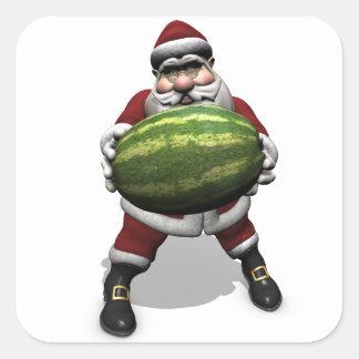 Papá Noel con la sandía enorme Pegatina Cuadrada