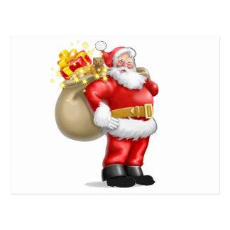 Papá Noel con los presentes Tarjeta Postal