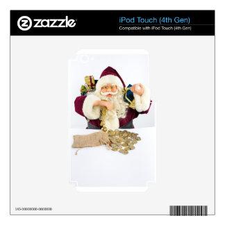 Papá Noel con los regalos y las monedas del dinero iPod Touch 4G Calcomanías
