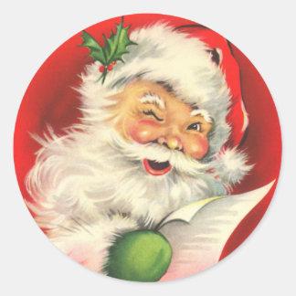 Papá Noel con un guiño Pegatina Redonda