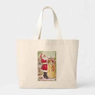 Papá Noel con un saco lleno de juguetes Bolsa Tela Grande