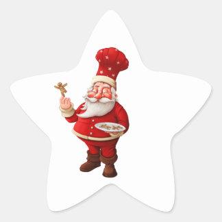 Papá Noel cuece a hombres de pan de jengibre Pegatina En Forma De Estrella