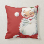 Papá Noel de guiño alegre, navidad del vintage Cojin
