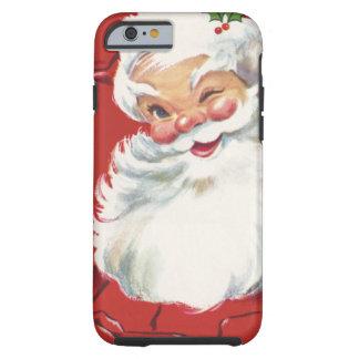 Papá Noel de guiño alegre, navidad del vintage Funda De iPhone 6 Tough