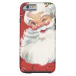 Papá Noel de guiño alegre, navidad del vintage Funda Resistente iPhone 6