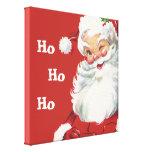 Papá Noel de guiño alegre, navidad del vintage Impresión En Tela