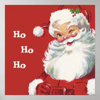 Papá Noel de guiño alegre, navidad del vintage Póster