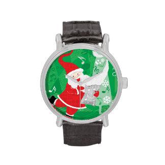 Papá Noel del navidad del vintage, del canto y del Relojes De Pulsera