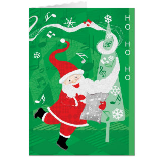 Papá Noel del navidad del vintage, del canto y del Tarjetón