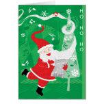 Papá Noel del navidad del vintage, del canto y del Tarjeton