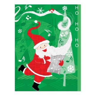 Papá Noel del navidad del vintage, del canto y del Postal