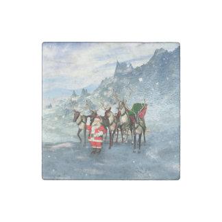 Papá Noel divertido con el reno y el trineo Imán De Piedra