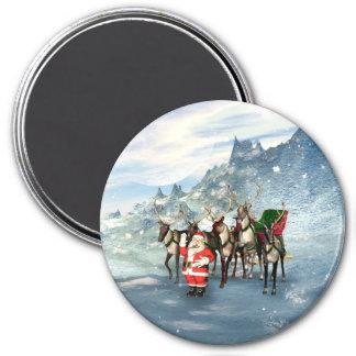 Papá Noel divertido con el reno y el trineo Imán Redondo 7 Cm