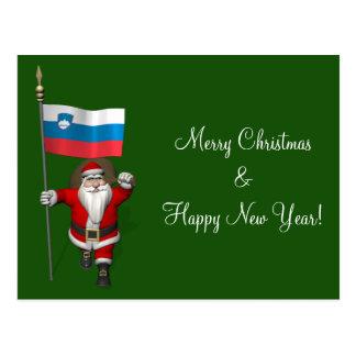Papá Noel divertido con la bandera de Eslovenia Postales