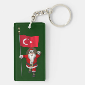 Papá Noel divertido con la bandera de Turquía Llavero Rectangular Acrílico A Doble Cara