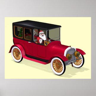 Papá Noel divertido en limusina roja del vintage Impresiones