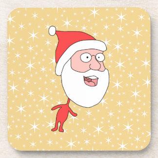 Papá Noel divertido, en modelo de estrella del col Posavasos