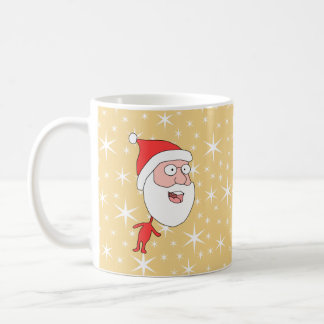 Papá Noel divertido, en modelo de estrella del col Taza Básica Blanca