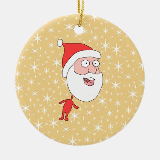 Papá Noel divertido, en modelo de estrella del Adorno Redondo De Cerámica