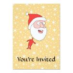Papá Noel divertido, en modelo de estrella del Invitación 12,7 X 17,8 Cm