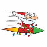 Papá Noel divertido en un dibujo animado del cohet Esculturas Fotográficas