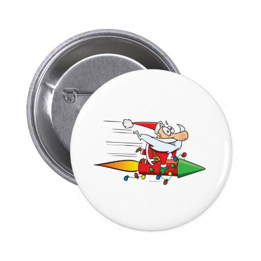 Papá Noel divertido en un dibujo animado del cohet Pin