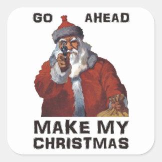 ¡Papá Noel divertido que apunta el arma - haga mi Calcomanía Cuadradas Personalizada