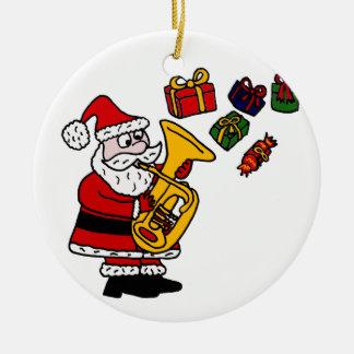 Papá Noel divertido que juega arte del navidad de Adorno Navideño Redondo De Cerámica
